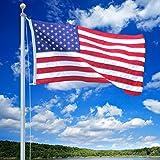 US Flag Store SFP18F-S White Titan 18ft Steel flagpole with 3ft x 5ft Flag, 18 feet