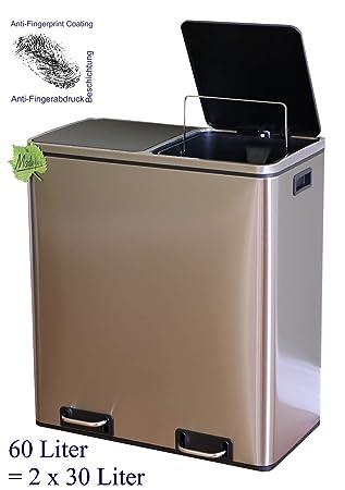 Made for us 60 L Edelstahl Tret-Abfalleimer 2x30 L Mülleimer 2-Fach  Mülltrennung 2er Müll-Trennsystem 60 Liter Abfallsammler zur  Abfall-Trennung ...
