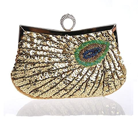 Latest Fashion Stylish Women Full Shining Sequins Beaded Rhinestone Peacock Embroidery Clutch Purse Handbag Evening Bag Hard Case with Rhinestone Studded Clip Closure for Lady with Metal Shoulder Straps-Gold