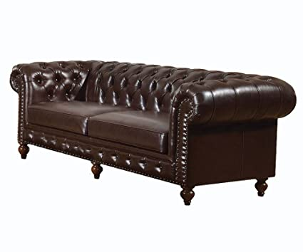 Amazon.com: ACME Shantoria Dark Brown Bonded Leather Sofa: Kitchen ...