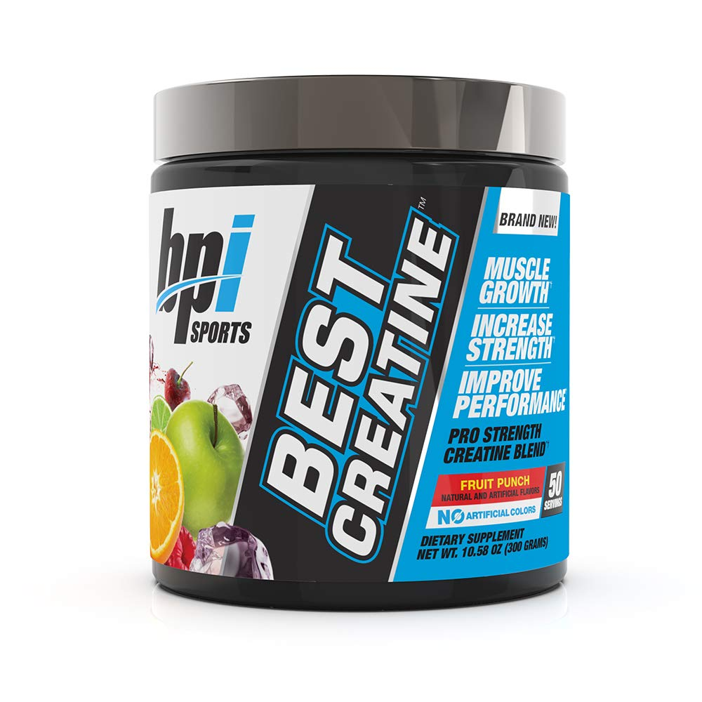 BPI Sports Best Creatine - Creatine Monohydrate, Himalayan Salt - Strength, Pump, Endurance, Muscle Growth, Muscle Definition - No Bloat - Fruit Punch - 50 servings - 10.58 oz. by BPI Sports