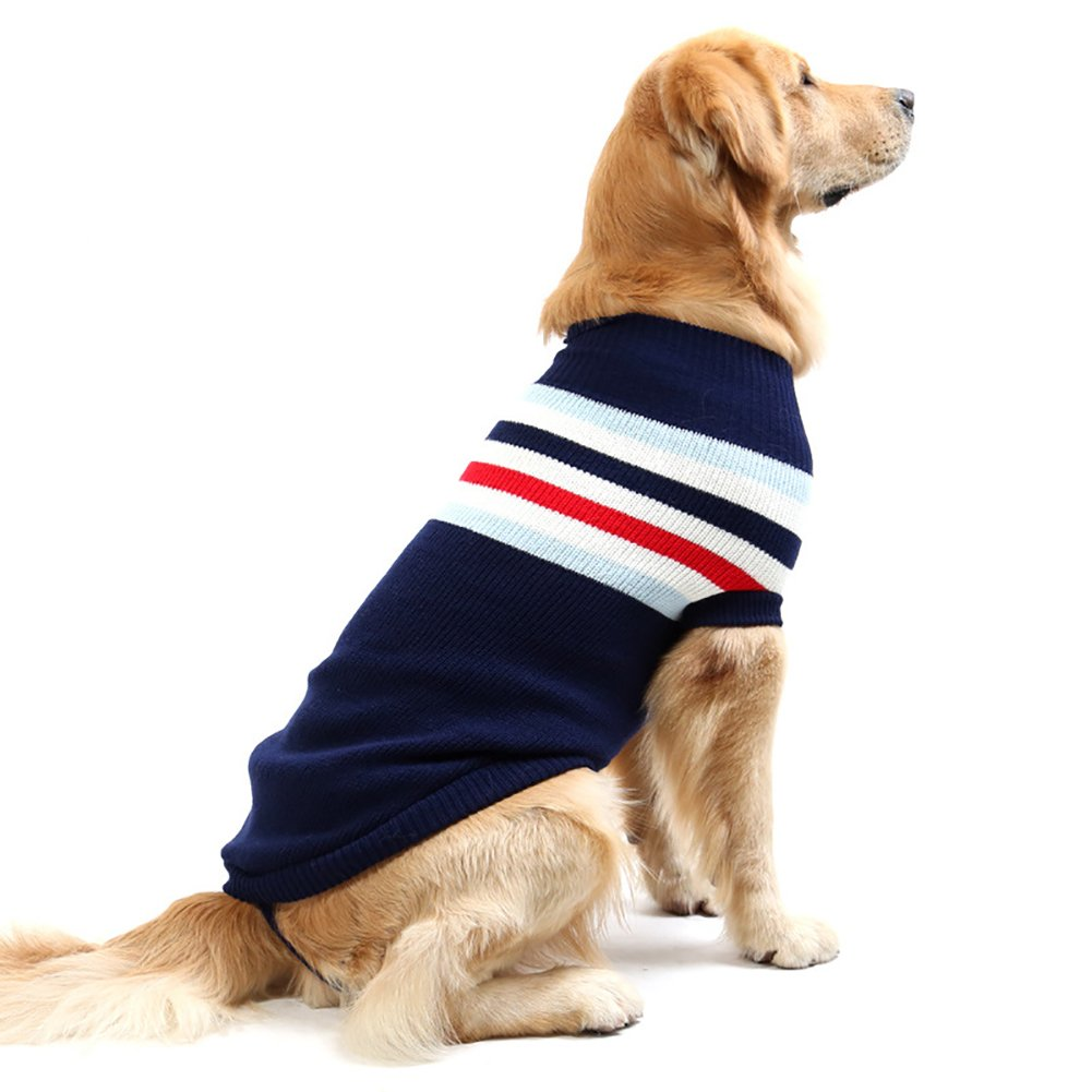 Fosinz Dog Warm Clothes Stripes Sweater Winter Clothing Vest Sweatshirt Coat Knitwear T-shirt (XL(Neck:14''-16'',Chest:16''-18'',Length:20''-21''), Navy)