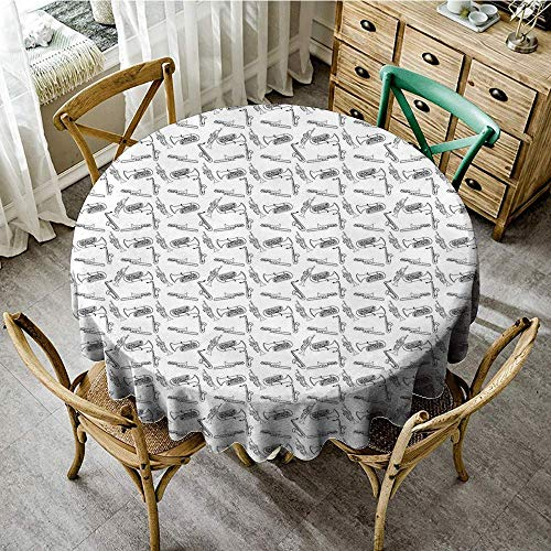 DONEECKL Wrinkle Resistant Tablecloth Jazz Music Monochrome Hand Drawing Style Trombone Trumpet Blues Jazz Concert Performance for Kitchen Dinning Tabletop Decoration D47 Black White