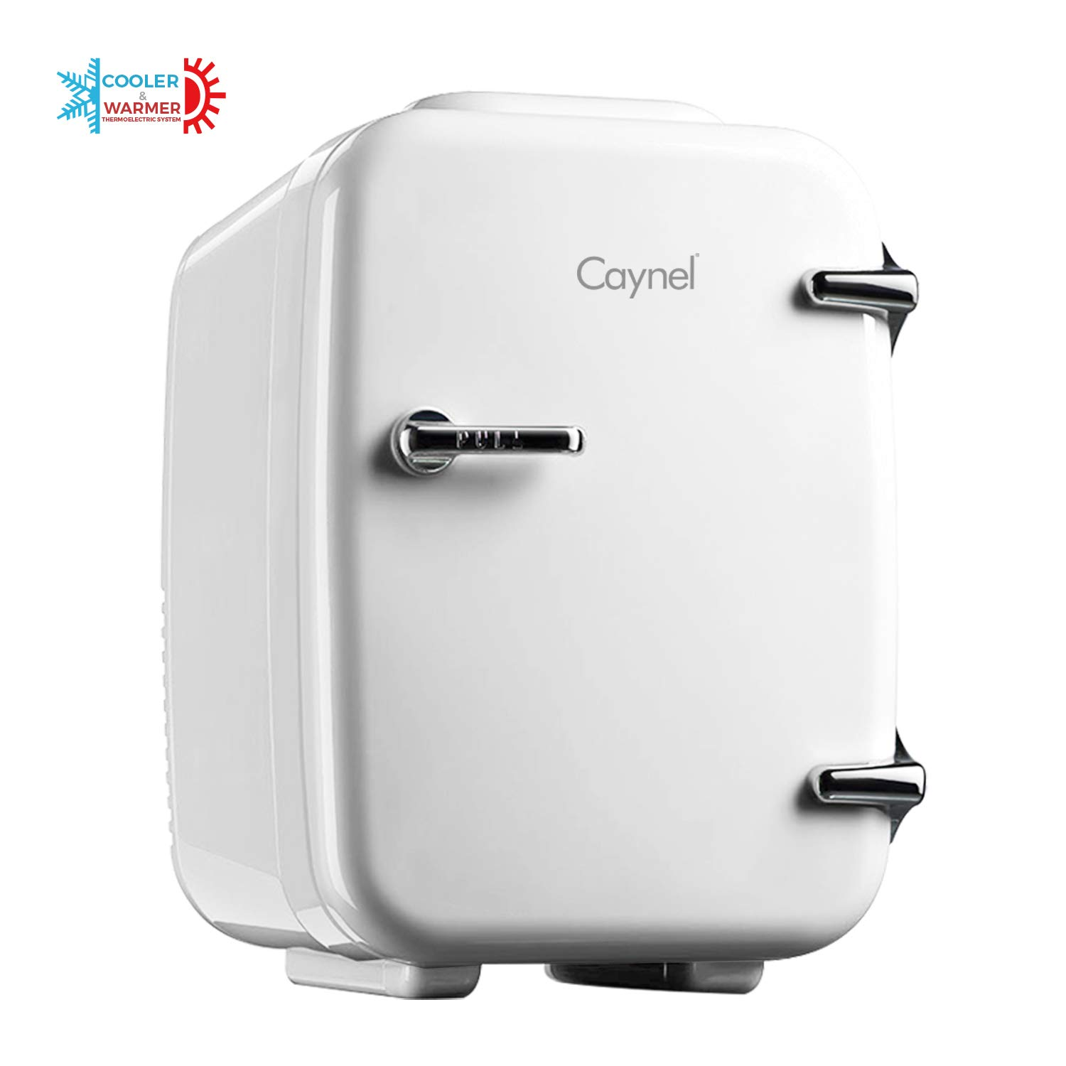 CAYNEL Mini Fridge Cooler and Warmer, (4Liter / 6Can) Portable Compact Personal Fridge, AC/DC Thermoelectric System, 100% Freon-Free Eco Friendly for Home, Office and Car, Includes 100-Pcs Stickers by CAYNEL