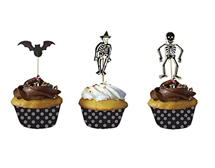 partymaster halloween decorations bat and skeleton food toothpicks cupcake muffin toppers cupcake picksmixed packaging