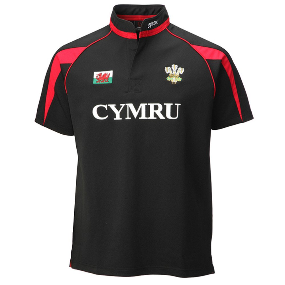 Baby/ Child's Black Welsh Poly Rugby Shirt (Wales, Cymru) HR6184B