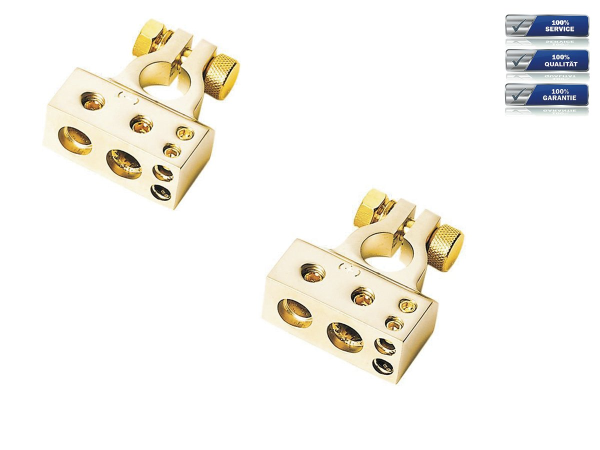 1 x 20 mm/² 2 x 10 mm/² Plus/&Minus Pol gold Batterieklemmen Set 1 x 35 mm/²