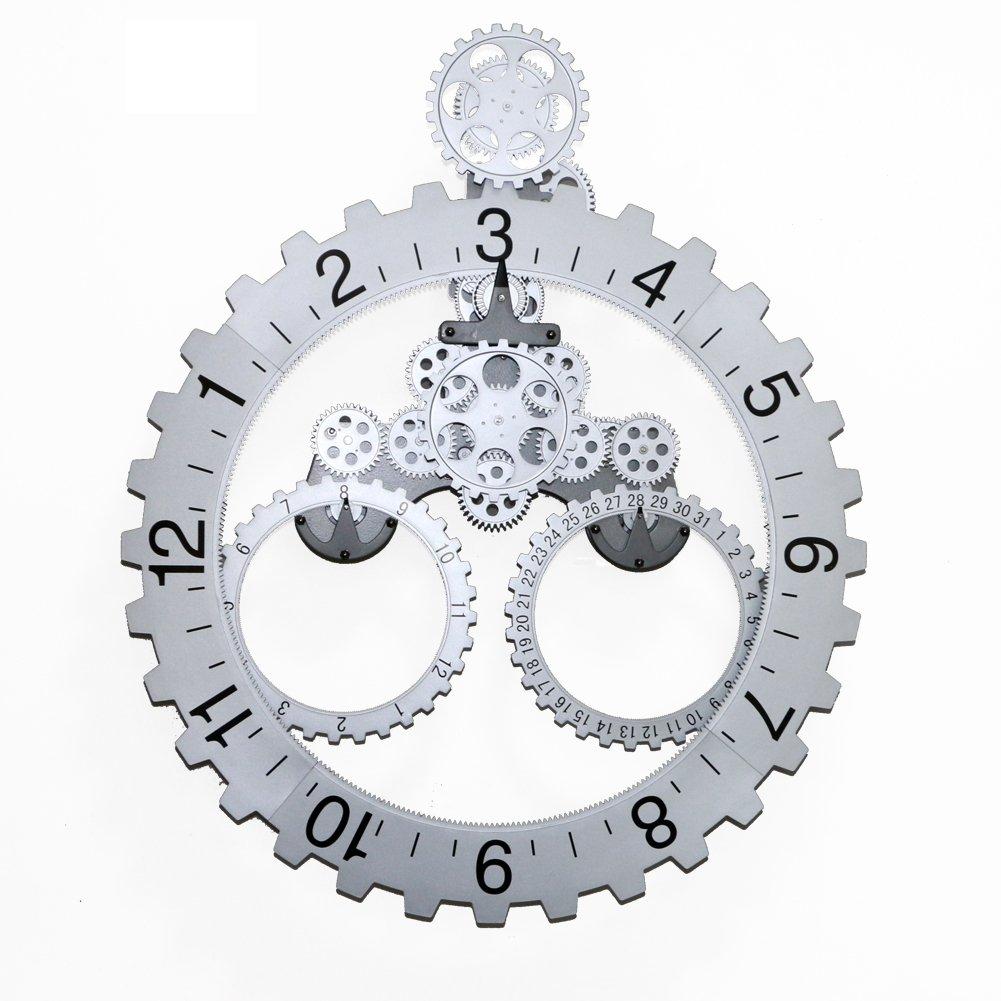 66 x 55cm große mechanische Stil Zahnrad Quarzuhr, Quarzuhr, Quarzuhr, Monat   Datum   Stunde Rad Wanduhren (Silber) eaa887