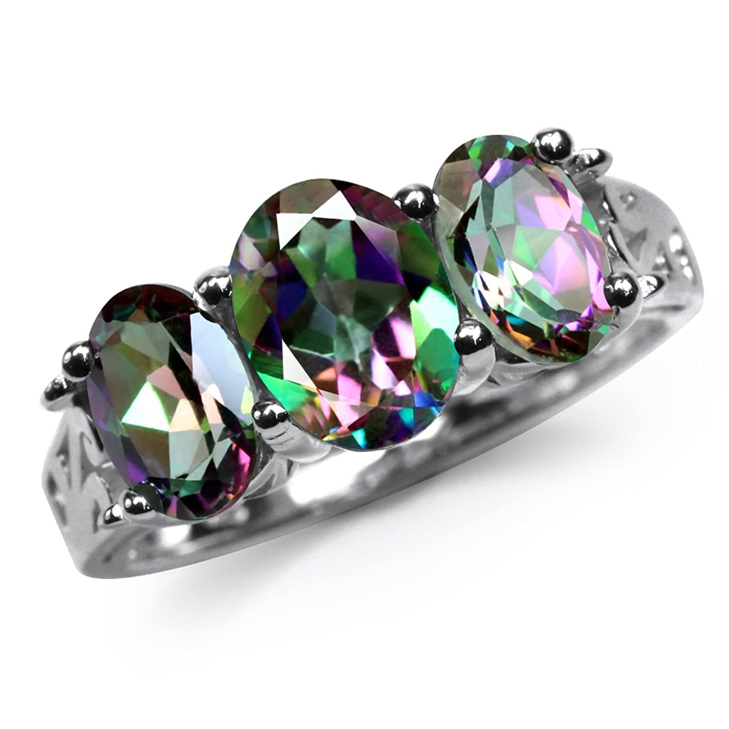 3.26ct. 3-Stone Mystic Fire Topaz 925 Sterling Silver Filigree Band Ring