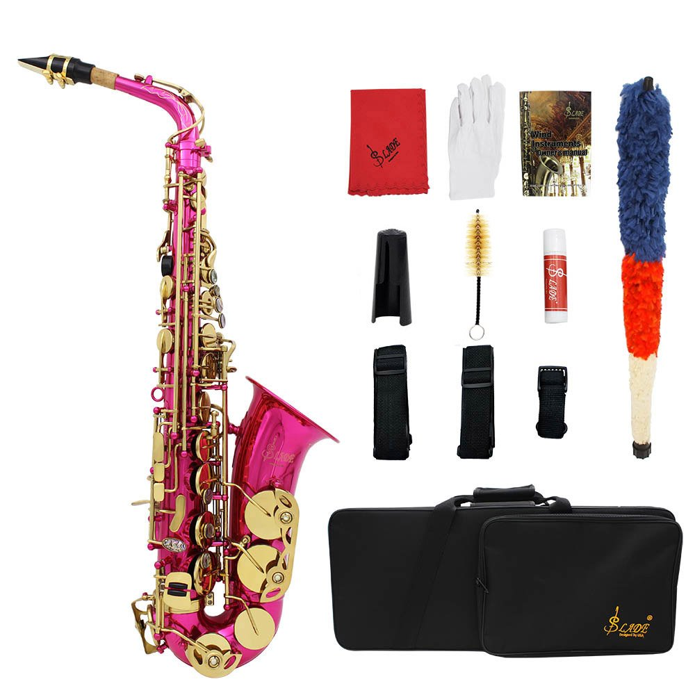 ammoon LADE Brass Engraved Eb E-Flat Alto Saxophone Sax Abalone Shell Buttons Wind Instrument with Case Gloves Cleaning Cloth Grease Belt Brush
