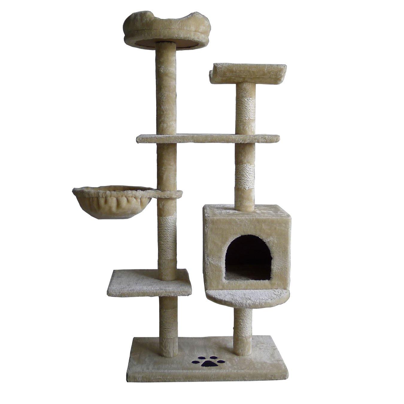 OTLIVE 53'' Cat Tree Condo Tower Scratcher Post Furniture Kitten Toy House (Beige)