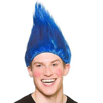 Peluca Troll Unisex para Adultos - Accesorio azul de disfraces
