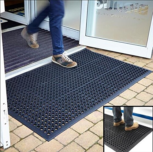 Heavy Duty Floor Mats >> Anti-Fatigue Rubber Floor Mats for Kitchen Bar, NEW Indoor Commercial Heavy Duty Floor Mat Black ...