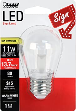 Warm White 3000K FEIT ELECTRIC BPS14//SU//LED Non-Dimmable Led Bulb 120 V 1-1//2 in Dia X 3-1//4 in L 1.5 W 80 Lumens 3 Piece