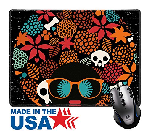 """MSD Natural Rubber Mouse Pad/Mat with Stitched Edges 9.8"""" x 7.9"""" Black head woman with strange pattern on her hair Vector illustration IMAGE (Hippie Hairstyles For Halloween)"""