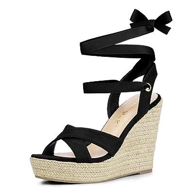 0f86b54a3872 Allegra K Women s Espadrille Platform Lace Up Wedges Black Sandals - 6 M US