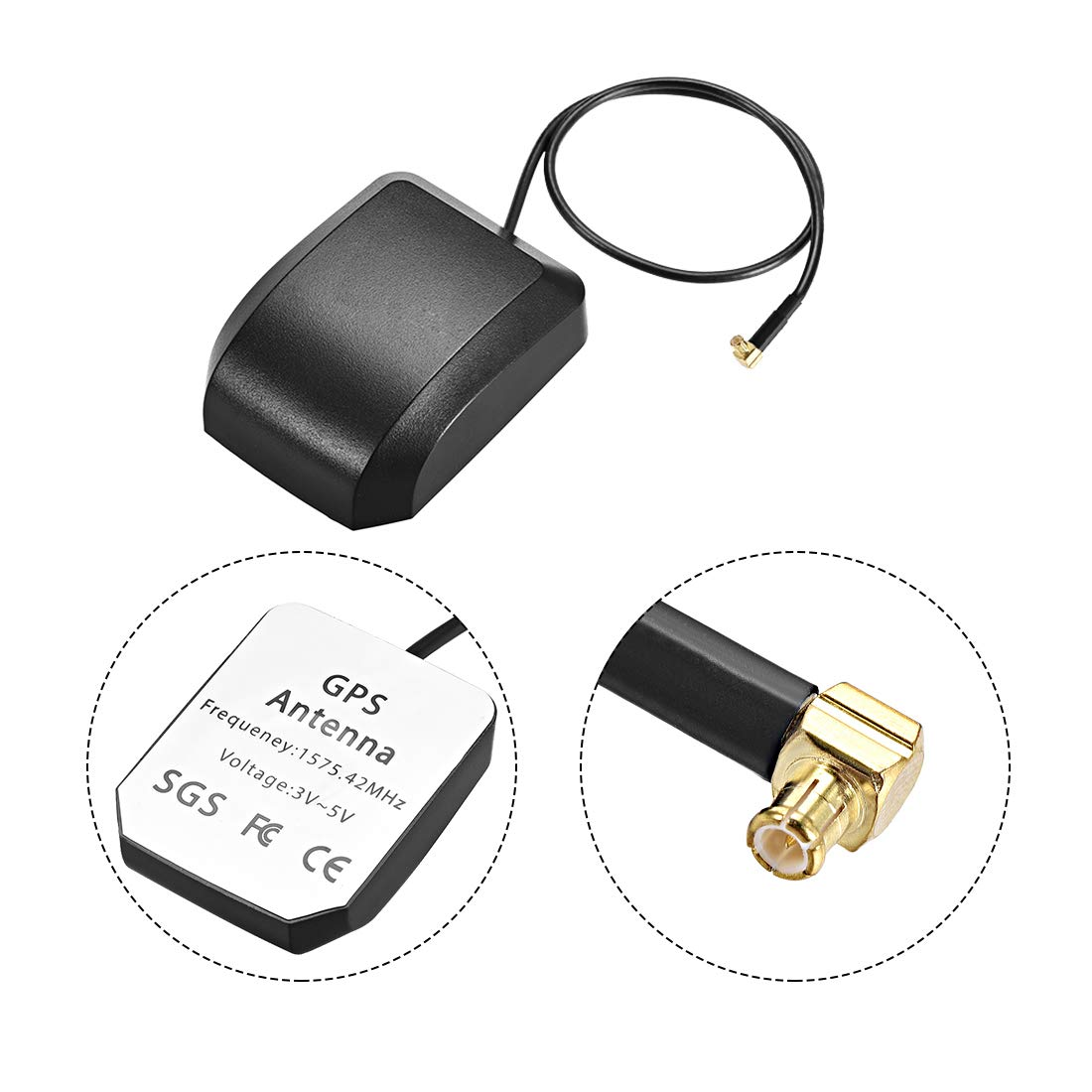 uxcell GPS Active Antenna MCX Male Plug 90-Degree 34dB Aerial Connector Cable with Magnetic Mount 0.5 Meters Wire L