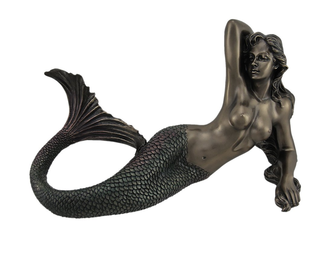 Wise Unic Mermaid Lying Back Statue