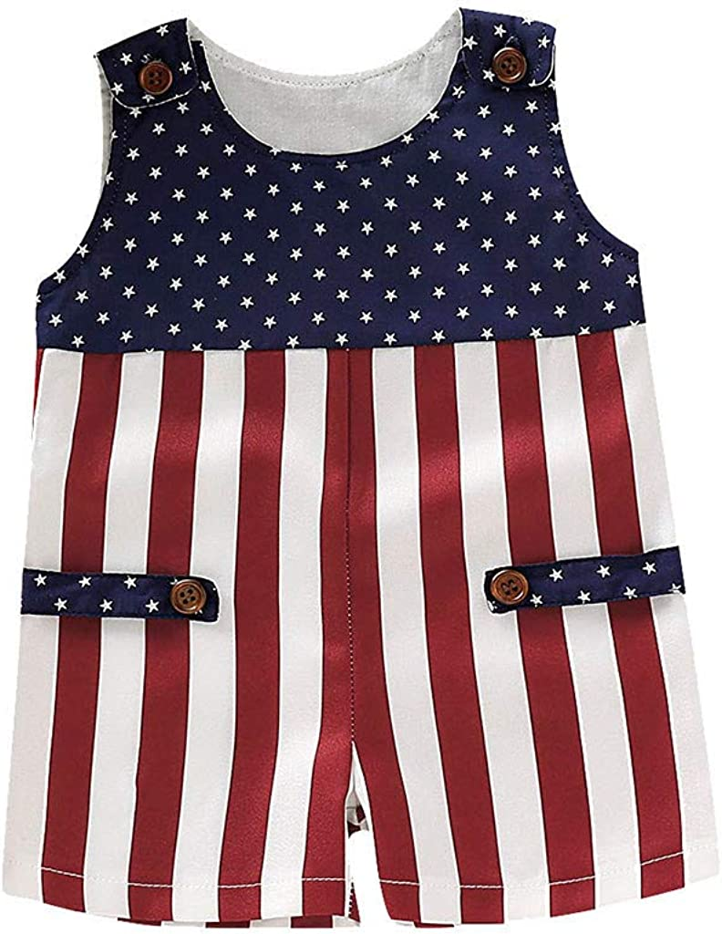 Independance Day Infant Baby Outfits Boys Girls Moms Gift Striped Patriotic Romper Jumpsuit Clothes