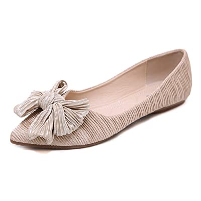 BOLOMEE Women's Slip On Ballet Flats Pointed Toe Bow Comfortable Wedding Ballerina Shoes | Flats