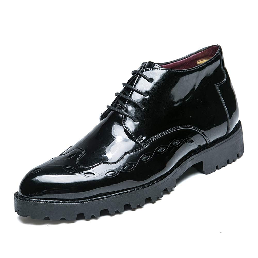 Oxford Casual Estilo Nuevo de los Hombres de Negocios con Zapatos Brogue de Charol Transpirable Medio Alto 42 EU|Negro