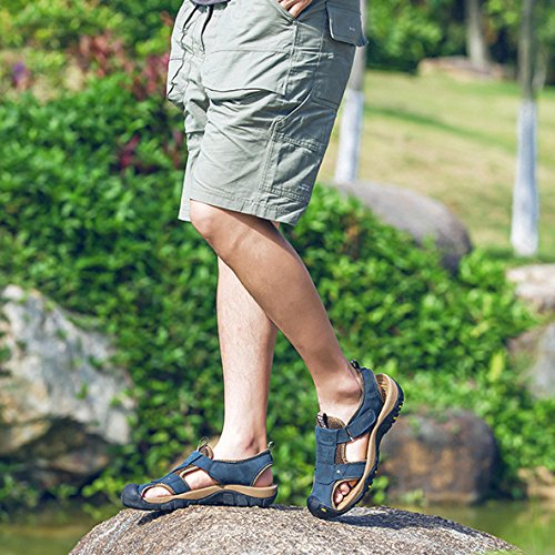 Casual Uomo Scarpe Traspiranti Blue Escursionismo Antiscivolo in da Spiaggia Pelle Sandali da Sandali Outdoor Sandali Sportivi IXa5Tqw5