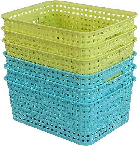 Amazon Com Kekow Plastic Storage Baskets For Bathroom Beauty And Closets Organization 6 Pack Home Improvement