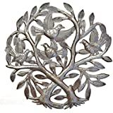"""Crossing Trees Metal Wall Art Handmade in Haiti From Recycled Drums 15"""" X 15"""""""
