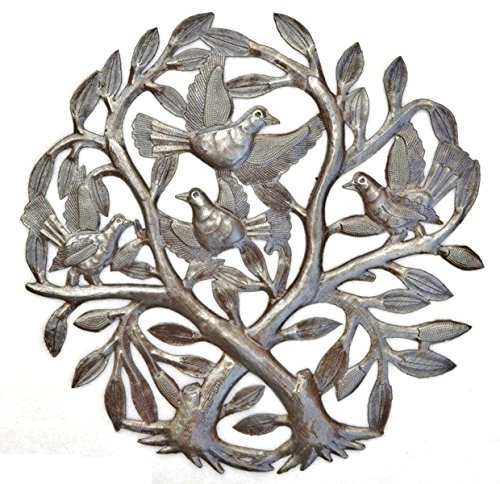 Crossing Trees Metal Wall Art Handmade in Haiti From Recycled Drums 15 X 15