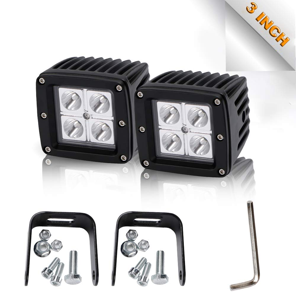Spot 3In Pods Cube Led Driving Fog Lights Bumper Grill Off Road Backup Reverse Back-Up Work Lights Auxiliary Driving Headlights For Motorcycle Jeep Wrangler Boat Tractor Truck Polaris Rzr ATV 12-24V TURBOSII