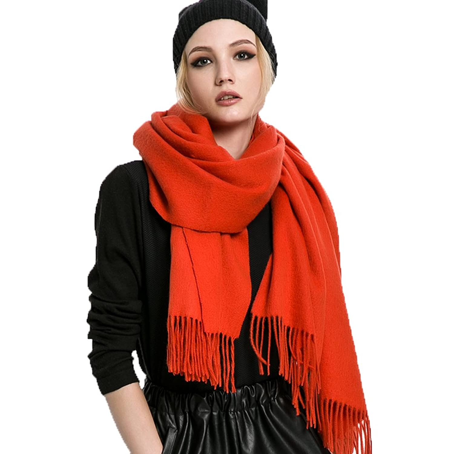 Mingxin womens pure color pure color wool scarf thick warm winter shawl wrap