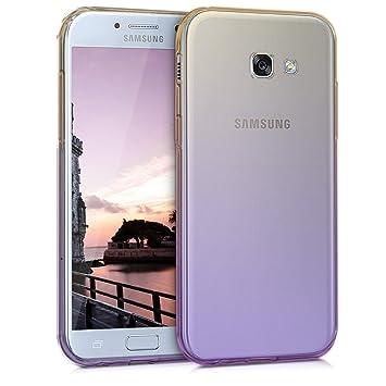 kwmobile Funda para Samsung Galaxy A5 (2017) - Carcasa para móvil de [TPU] con diseño Bicolor - [Amarillo/Violeta/Transparente]