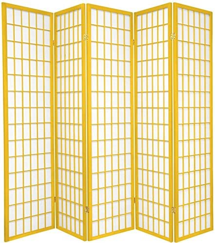 ORIENTAL Furniture 6-Feet Window Pane Japanese Shoji Folding Privacy Screen Room Divider, 5 Panel Mustard