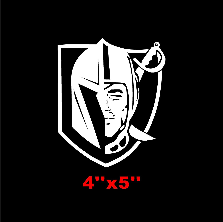 FASHIONMZ Las Vegas Golden Knights Sticker Decal Mix with Raiders Logo X3 Gold
