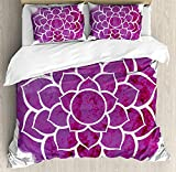 Purple Mandala 3D Duvet Cover Sets Bedspread for Adult Kids, Fitted Sheet, Pillowcase Twin Size, 4pc Luxury Bedding Set Watercolor Lotus Flower Yoga Meditation Zen Boho Style Painbrush Artwork