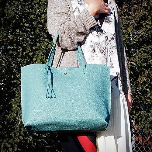 OCT17 Women Tote Bag - Tassels Faux Leather Shoulder Handbags, Fashion Ladies Purses Satchel Messenger Bags (Dark Gray) by OCT17 (Image #8)