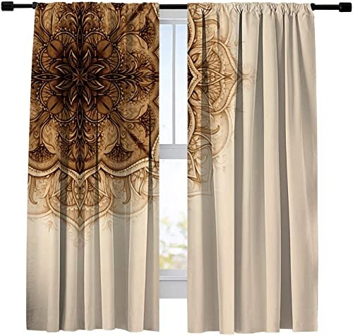 Misscc Thermal Insulated Blackout Curtains,Floral Ornament Vintage Pattern Window Curtains,Living Room Bedroom Kitchen Cafe Window Treatments Drapes 2 Panels Set