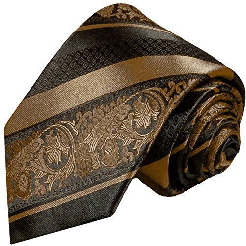 Cravate homme marron rayé noir 100% cravate en soie ( longueur 165cm )