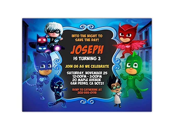 Custom PJ Masks Birthday Party Invitations For Kids 10pc 60pc 4x6 Or 5x7 Cards With White Envelopes Printed On Premium 265gsm Card Stock In