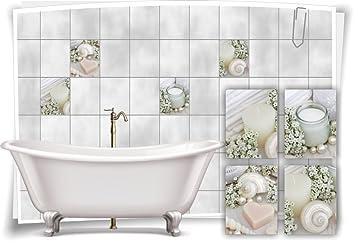 Medianlux Fliesenaufkleber Fliesenbild Kerze Creme Wellness Spa Aufkleber Fliesen  Bad Deko WC Badezimmer Muscheln, 10x15cm