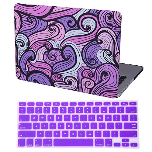 HDE Hard Case with Keyboard Cover for MacBook Pro 13 Inch Retina Display No CD Rom (A1425 / A1502) Lightweight Protective Cover fits Apple MacBook Pro 13 Version 2015/2014/2013/2012, Purple Waves