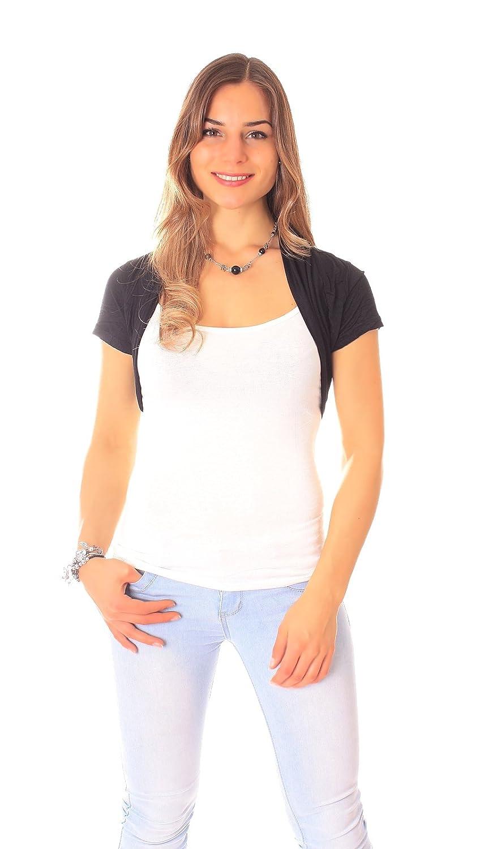 Easy Young Fashion Damen Bolero Kurzarm Jäckchen One Size