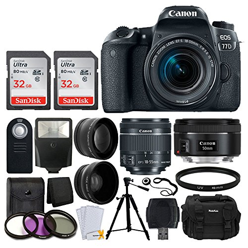 Canon EOS 77D Digital SLR Camera + Canon EF-S 18-55mm f/4-5.6 IS STM Lens + Canon EF 50mm f/1.8 STM Lens + Wide Angle & Telephoto Lens + Photo4Less DC59 Gadget Bag + Wireless Remote + Accessory Bundle