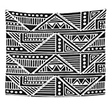 Emvency Tapestry Black and White Geometrical Tribal Ethnic Folk Traditional Motifs Home Decor Wall Hanging for Living Room Bedroom Dorm 50x60 Inches