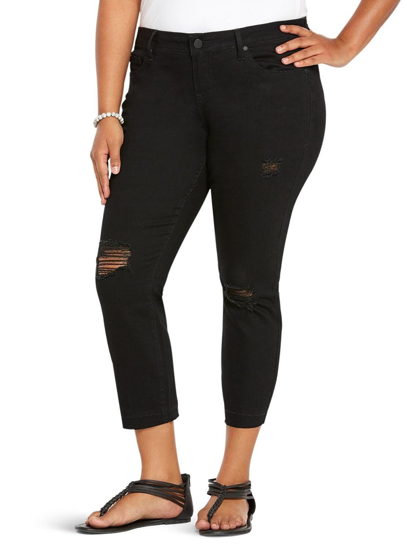 2a188986967 hot sale Torrid Ankle Skinny Jeans - Black Wash with Destruction ...
