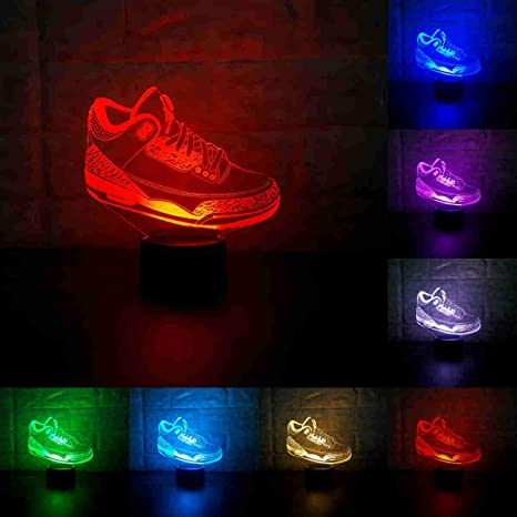 Sneakers 3D Lamp Table NightLight 7 Color Change Running Shoes LED Desk  Light Touch Multicolored USB 0f368d3eb