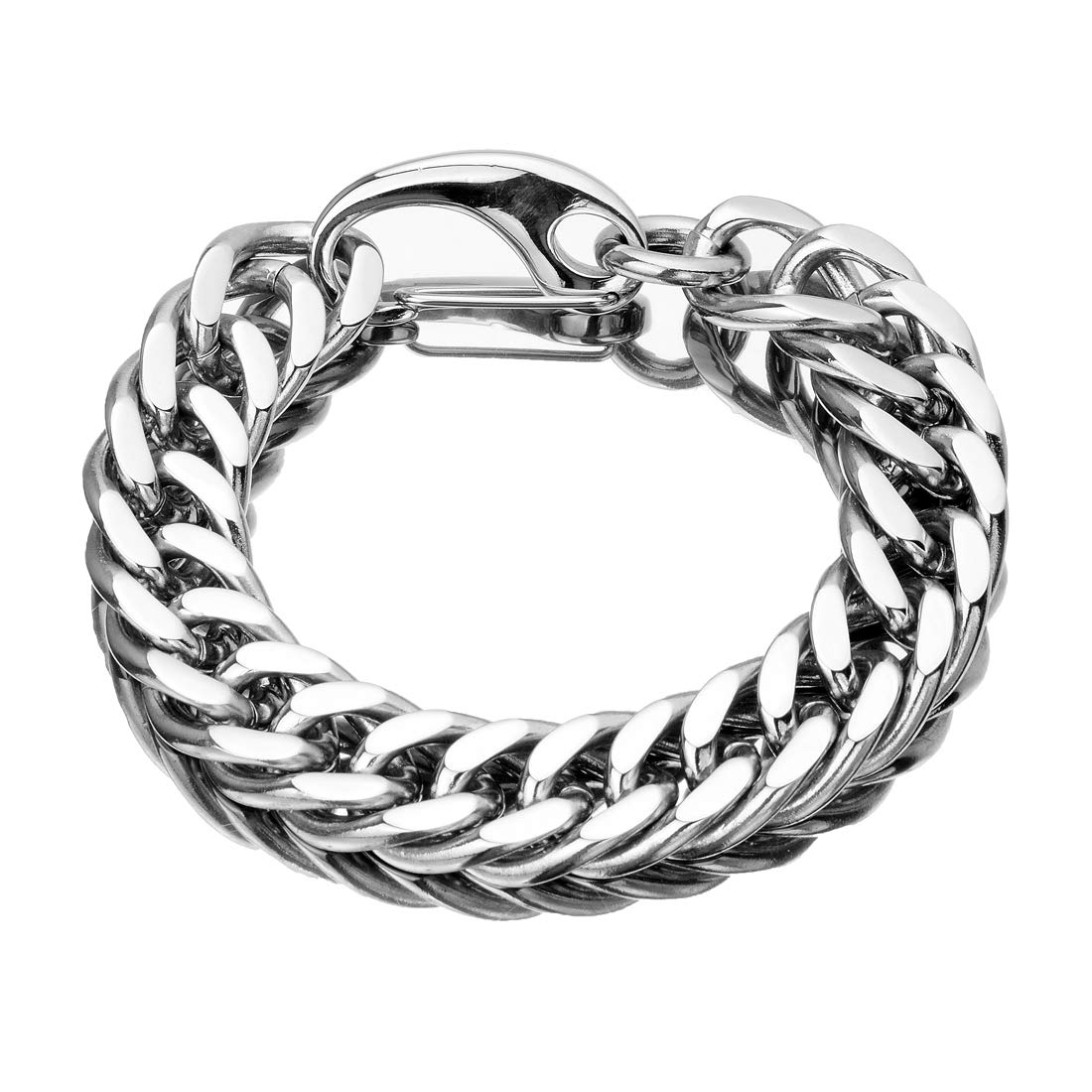 TIASRI Heavy Mens Necklace Stainless Steel Xxxtentacion Necklace Chain Double Cuban Miami Link Choker 24