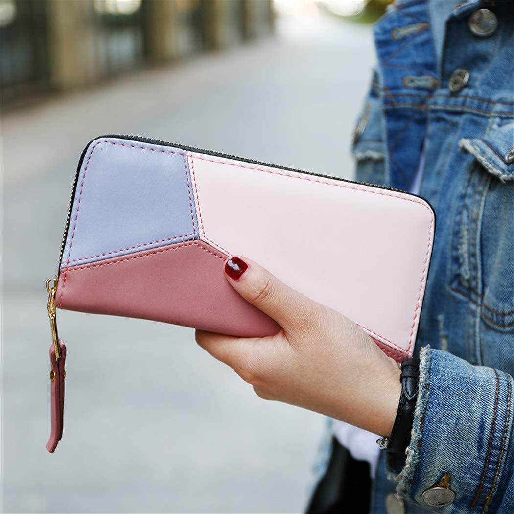 Patchwork PU Leather Women Wallet Foviza Elegant Long Zipper Purse Wristband Female Purse
