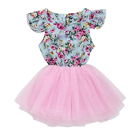 4be6008e924ff Moonker Girls Dress,Toddler Baby Girls Print Patchwork Floral Pageant Party  Princess Dresses (Pink