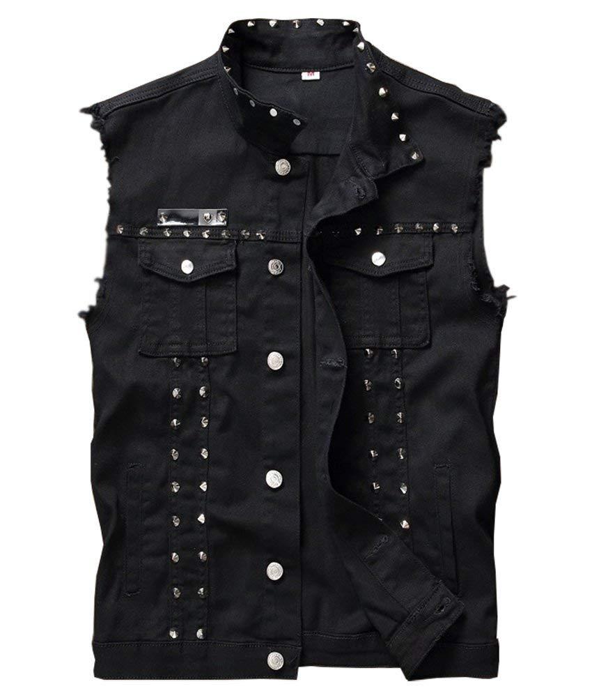 LifeHe Men's Sleeveless Lapel Denim Jean Vests Jacket with Rivets (Black, Large) by LifeHe